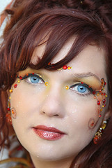 A Fairy's Face (wyojones) Tags: usa beautiful festival costume wings pretty texas portait blueeyes makeup lips trf redhead fairy desiree faire renfaire lovely fairies renaissancefestival facepaint fest renaissance renaissancefaire renfest rennie rennaissance costumedesigner headress texasrenaissancefestival toddmission wyojones toodmission desfairy