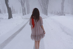 (b r e e) Tags: snow girl fashion fog scarf hair wind cemetary retro littleredridinghood redscarf