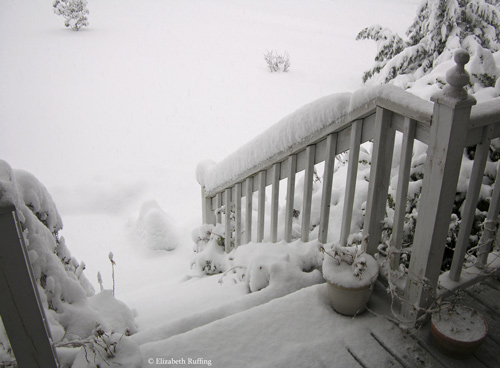 Snow-covered steps