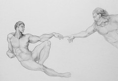 Drawing Study: Michelangelo's Creation of Adam (micromax) Tags: adam art pencil drawing drawings creation human anatomy michelangelo matita disegno anatomia creationofadam