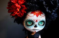 K blythe calavera 002 (Kittytoes) Tags: dayofthedead skull doll sugar diadelosmuertos blythe calavera commissions melancholykitties