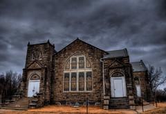 Stone Church (Keith Moyer) Tags: sky church stone clouds nikon missouri hdr oldbuilding sedalia d90