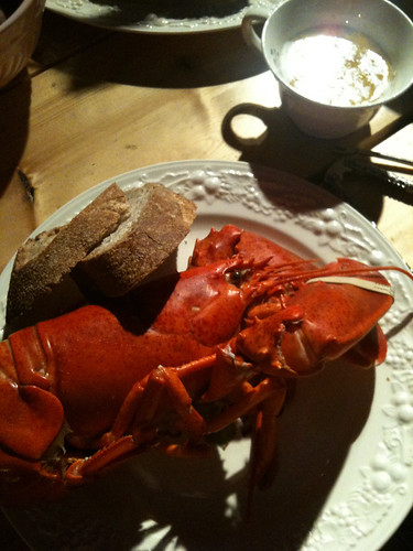 Lobster Dinner with friends @ a cabin in the woods, Casco, ME