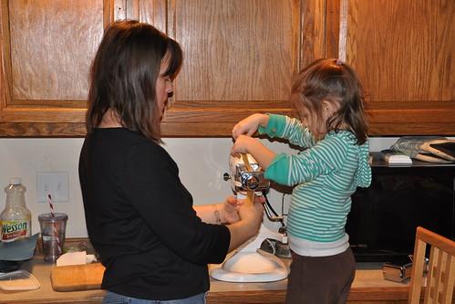 Making ravioli with Julie upon our return