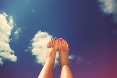 (nessa teran iturralde) Tags: blue red summer vacation sky feet clouds relax nails nailpolish schoolisout
