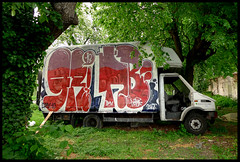By GRIS, BOM.K (DMV, GREETINGS) (Thias (-)) Tags: terrain streetart paris wall truck painting gris graffiti mural spray urbanart camion painter greetings lime graff aerosol dmv bombing 91 vegetal spraycanart pgc thias bomk photograff frenchgraff grisone photograffcollectif