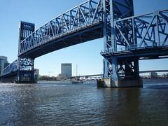 Boat going under Main St bridge