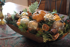 Christmas centerpiece (kizilod2) Tags: christmas wood orange holiday green pumpkin wooden bowl ornaments decorating evergreens greens squash centerpiece decor breadtrough