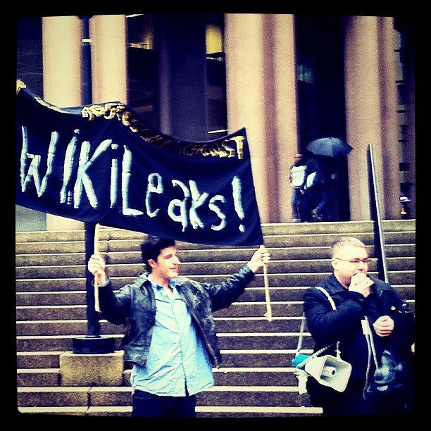 Wikileaks banner at the Vancouver Rally