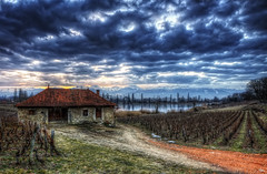 La vieille maison {EXPLORED - FrontPage} (Girolamo's HDR photos) Tags: winter light sunset sky house lake france mountains ice nature clouds canon reflections french landscape photography vineyard savoie hdr girolamo photomatix tonemapping canoneos50d lacsaintandr cracchiolo omalorig wwwomalorigcom gettyimagesfranceq1