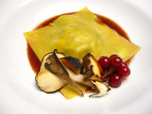 foie gras and wild mushroom raviolo