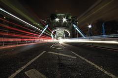 Tower Bridge Trails (murphyz) Tags: road longexposure bridge light red motion bus london cars night speed towerbridge movement traffic britain trails olympic olympics 1020mm 2012 london2012 londonist 2012olympics londonolympics olympiccity