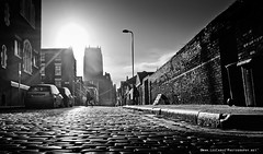 Cathedral & Cobbles (Lee Carus) Tags: street old people white man black brick wall liverpool hope mono pub candid sony low sunny cobbles anglican slt pilgrim a55 cathdeal