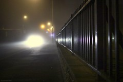 (andrewlee1967) Tags: road mist fog lights fence railings tameside canon50d ef35mmf2 andrewlee1967 uk gb england britain ashtonunderlyne dukinfield dark morning traffic headlights whitelandsroad dof andrewlee