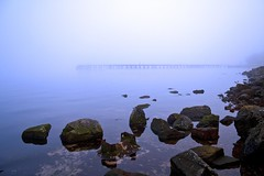 Pier with Rocks (Bora Horza) Tags: uk winter mist distortion cold reflection abandoned water birds fog port river coast scotland riverclyde clyde pier dock rocks glasgow platform quay forgotten wharf disused newark decaying portglasgow newarkcastle
