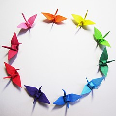 Circle of life {EXPLORED} ([ ` vickii * ]) Tags: pink blue shadow red orange white green birds yellow paper colours shadows purple crane cranes explore papercrane papercranes explored paperbirds
