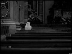 Devoted (Gerard Schuur) Tags: city portrait people blackandwhite bw italy vatican rome roma church faith capital prayer religion citylife nun saintpeter stpieter rome2010 peoplism