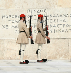 Athens, Changing the Guard at the Tomb of the Unknown Soldier (electropod) Tags: building soldier tomb rifle ceremony parliament athens greece national unknown soldiers warrior guards ceremonial evzone evzones andrewbarclay unbiform