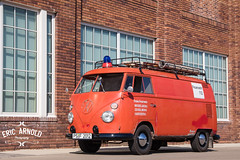 Firebus (Eric Arnold Photography) Tags: vw volkswagen bus firebus firetruck commercial industrial fire station brick building windows classicvintage siren lights magazine feature shoot photoshoot german germany