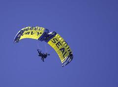 Super Canopy Navy SEALs (dcnelson1898) Tags: marinecorpsairstationmiramar marinecorps marines sandiego california mcasmiramar 2016mcasmiramarairshow airshow airplanes jets helicopters usarmy goldenknightsparachuteteam leapfrogs usnavy freefall skydiving parachute airborne