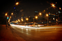 Streakin' Along Columbus Drive (Seth Oliver Photographic Art) Tags: longexposure chicago illinois nikon midwest cityscapes congress citylights grantpark nightshots lighttrails chicagoloop vignette chicagoatnight pinoy downtownchicago nightscapes urbanscapes starbursts chicagoist d90 15secondexposure nightexposures columbusdrive bigcities nighttrails moderncities shutterspeedpriority setholiver1 chicagoafterdark aperturef220 18105mmnikkorlens tripodmountedshot remotetriggeredshot fisheyeimage