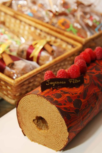 Coffee baumkuchen with dark chocolate & raspberries