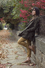 Fall in Fayetteville (Austin Tolin) Tags: autumn urban woman fall girl fashion model style neighborhood jacket fourseasons arkansas fayetteville 4seasons fallfashion