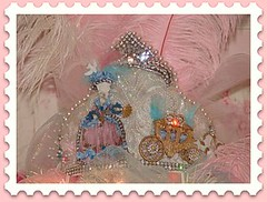 Marie Crown Tree Topper (Treasured Heirlooms) Tags: birds glitter vintage stars crystals lace feathers pearls fans jewels gems marieantoinette tussiemussie halfdoll