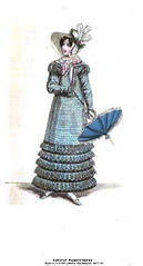 1818 Regency Fashion Plate - Parisian Walking Dress (La Belle Assemblee Magazine) (CharmaineZoe) Tags: english hat fashion vintage french costume parasol bonnet regency parisian fashionplate headwear millinery 1818 outerwear walkingdress