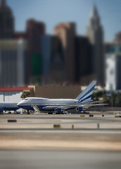 The Sands Company 747 (Brent Mooers Photography) Tags: vegas canon miniature airport paradise lasvegas nevada jet shift mini casino nv boeing usm sands tilt ts 747 jumbojet jumbo lv mccarran 70200mm tiltshift f4l 747sp executivejet 40d
