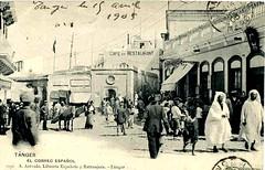 Tangiers 1900s Postcard - Petit Socco towards the Correo Español (ronramstew) Tags: old vintage postcard morocco espanol maroc marocco souk marruecos tangier marokko tanger tangiers 1900s tanja correo petitsocco lemaroc