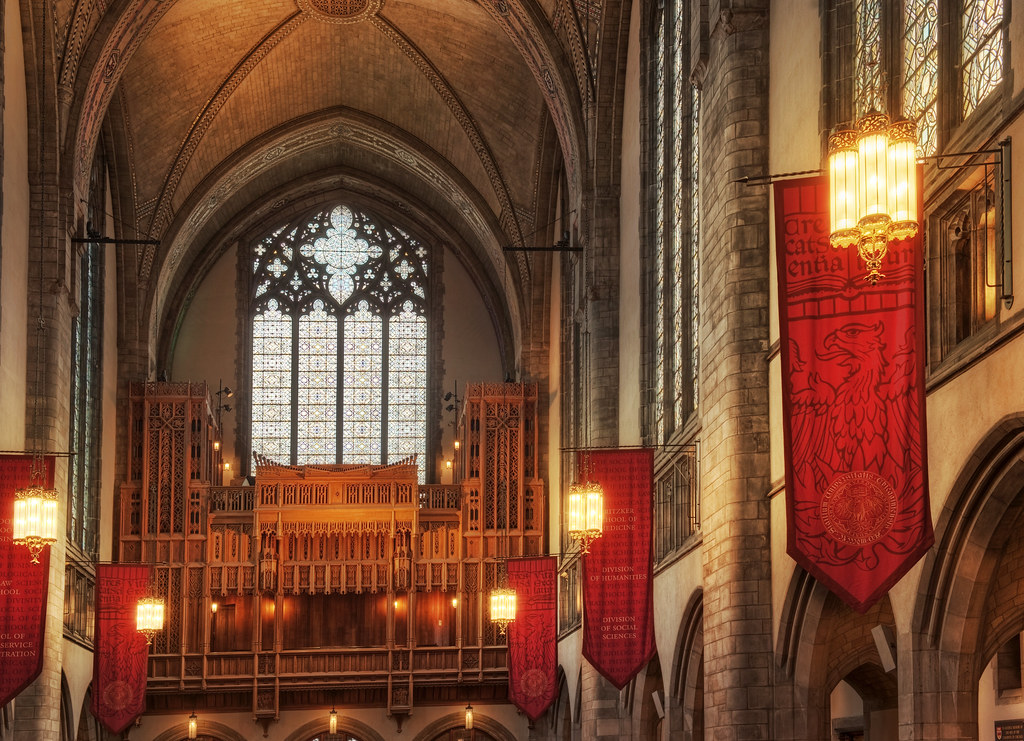 Banners and south window of Rockefeller Chapel