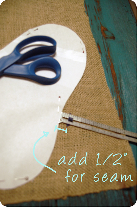 {craft}ernoon: burlap stocking - step 3