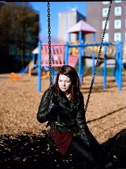 Megan (Tommy.Braxton Photography) Tags: morning cold film playground ngc megan swing 160vc portra largeformat leatherjacket 5x4 fieldcamera