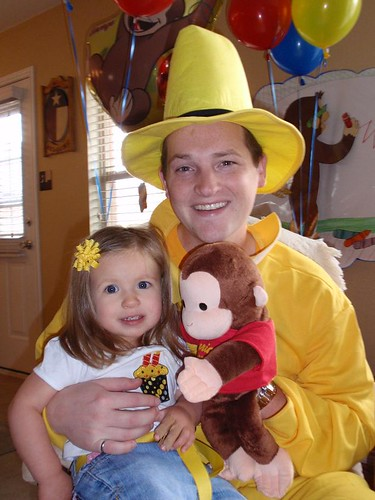 Laci with The Man in the Yellow Hat