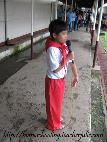 Here he was reciting the poem during the culminating activity in front