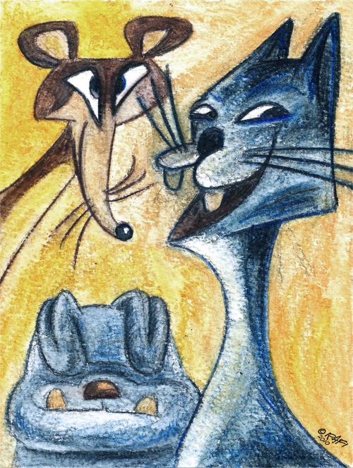 Clockwise: Mouse Cat Dog