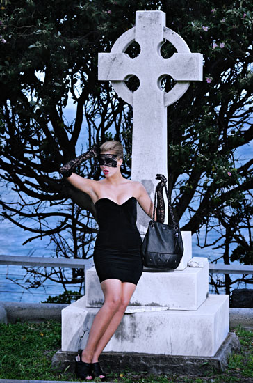 Gothic Fashion Photography by Kent Johnson, Love & luck, old cemetery Skull and Bones Campaign.