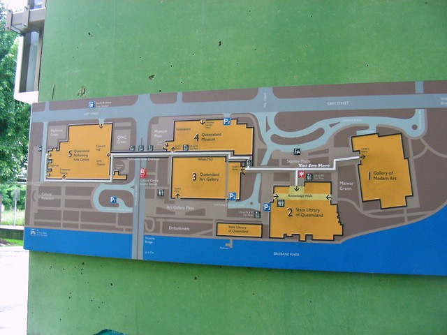 Map of Brisbane's Cultural Center on the South Bank of the Brisbane River