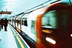 Underground I ((T')art) Tags: color london film underground lights holidays mju indoor olympus crossprocessing xprocessing kodakelitechrome100 traitementcroisé olympusμmjuii