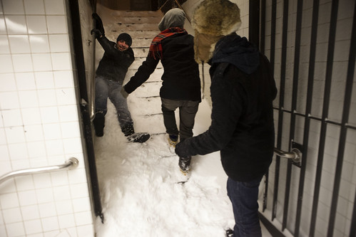 Whoa, slip-sliding down the subway steps - New York Blizzard Snowstorm Blargfest