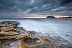Baladrar (DavidFrutos) Tags: longexposure sunset seascape beach water stone clouds atardecer interestingness agua rocks day