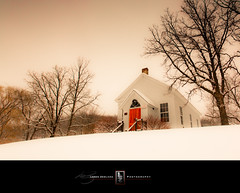 Hyde Chapel (Loren Zemlicka) Tags: christmas trees winter red usa white holiday snow church wisconsin rural landscape outdoors photography countryside photo midwest scenery december image country picture wideangle chapel reddoor hyde wreath land northamerica canonef1740mmf4lusm 2010 ridgeway iowacounty cordt barneveld canoneos5d portalwisconsinorgselected lorenzemlicka portalwisconsinorg122910