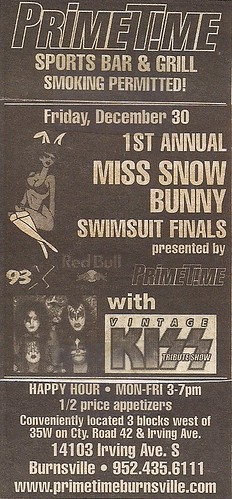 12/30/05 Vintage Kiss @ Prime Time, Burnsville, MN (Ad)