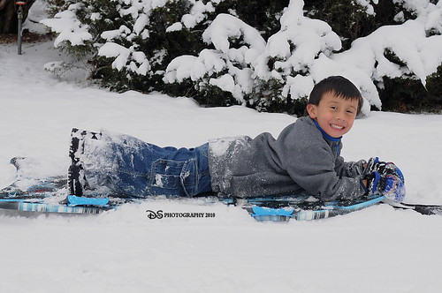 Sledding in the backyard