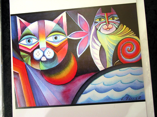 Acrylic Cat Painting by Karin Zeller