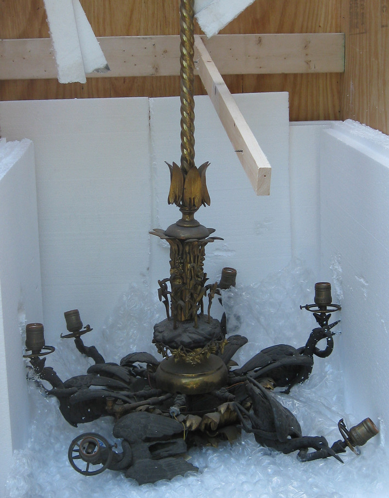 1861 Cornelius & Baker gas chandelier destroyed from shipping