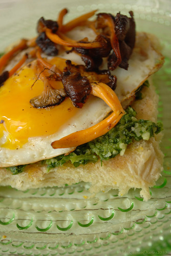 Mirror egg and wild mushroom sandwich