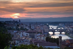 Three Bridges (mpb11) Tags: city sunset italy night river landscape florence cloudy bridges firenze 2009