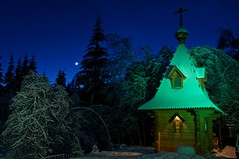 (irimeiff) Tags: blue winter light red sky moon white snow color building ice home church night dark temple pond cross cathedral russia moscow faith religion chapel story hut cupola dome cultus orthodoxy
